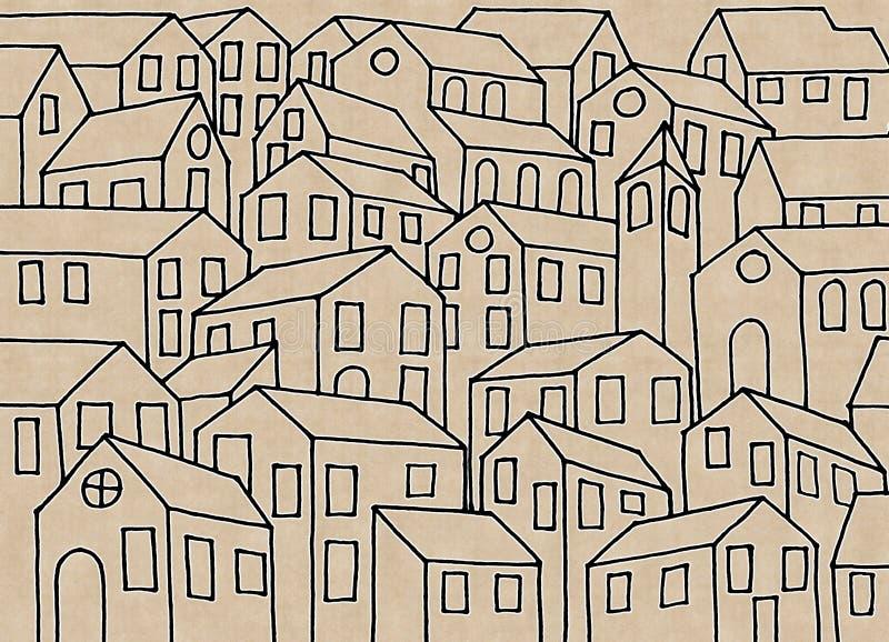 Denkbeeldige die stad door de oude Toscaanse steden wordt geïnspireerd - I ` m copyri vector illustratie