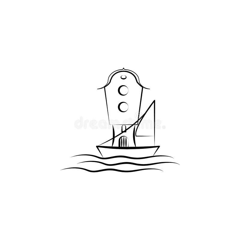 Denkbeeldige huisoverzees, schippictogram Element van hand getrokken Denkbeeldig huispictogram voor mobiele concept en webtoepass vector illustratie