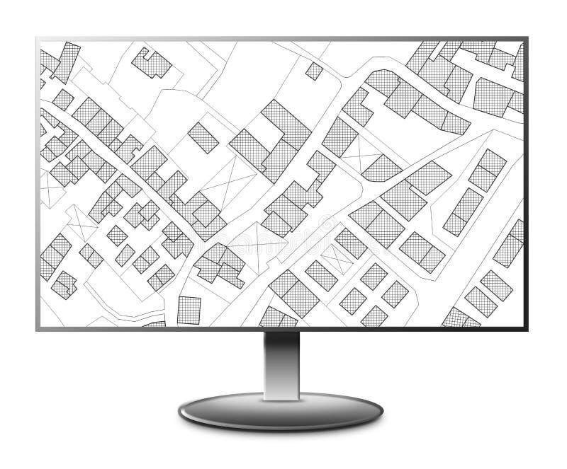 Denkbeeldige kadastrale kaart van grondgebied met een vrij groen land beschikbaar voor bouwconstructie - 3D teruggevend concepten stock illustratie