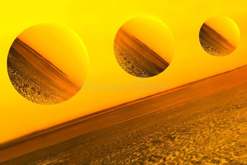 Denkbeeldige planeten, afbeelding van een gesmolten ruimte royalty-vrije illustratie