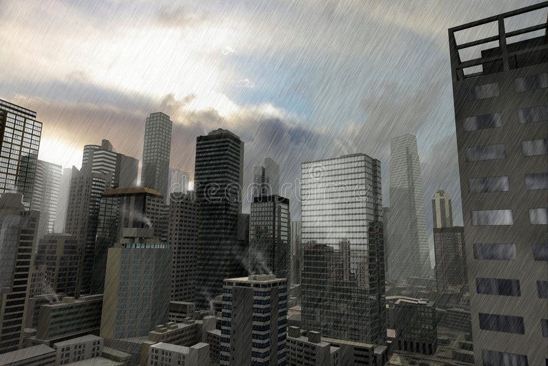 Denkbeeldige stad 10 stock foto