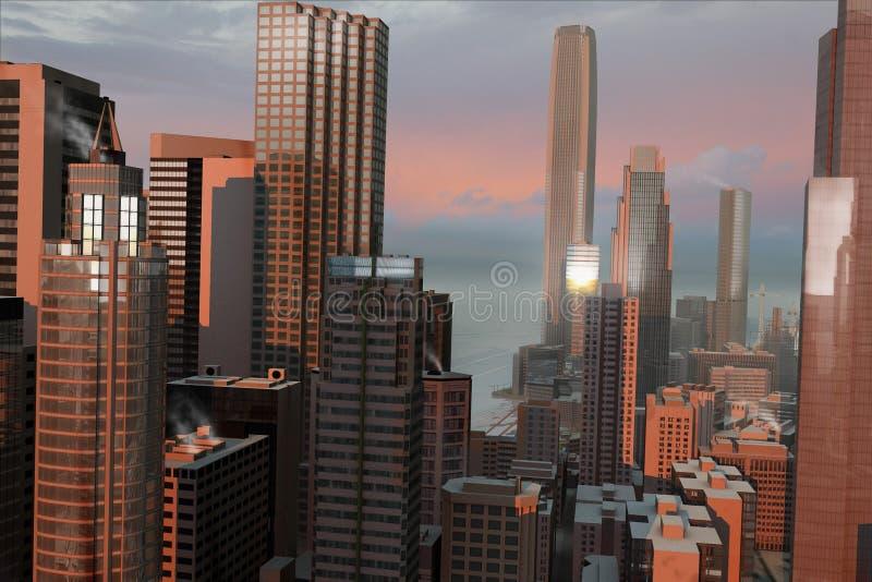 Denkbeeldige stad 13 vector illustratie