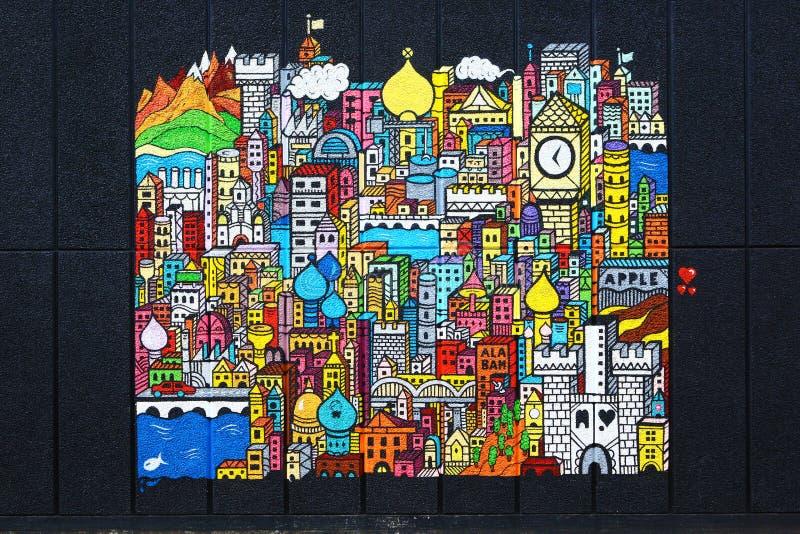 Denkbeeldige stad op mooie straatkunst, Londen stock afbeelding