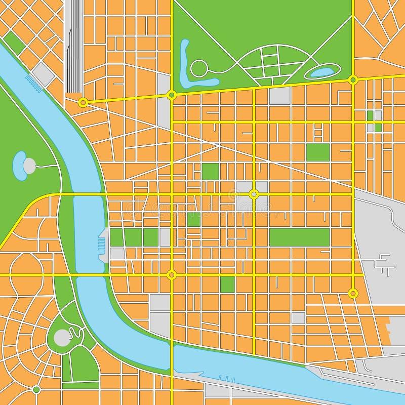 Denkbeeldige Stads Vectorkaart vector illustratie