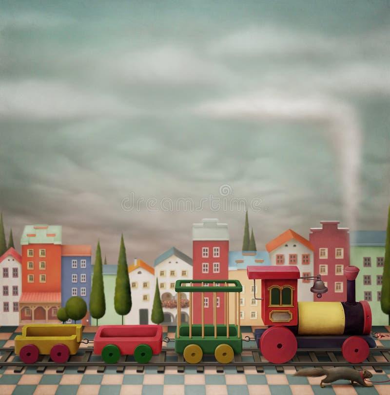 Denkbeeldige stuk speelgoed trein en de stad royalty-vrije illustratie