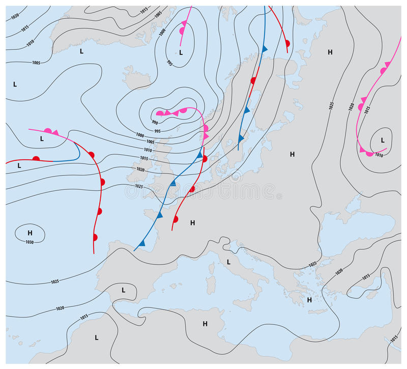 Denkbeeldige weerkaart Europa die isobaren en weervoorzijden tonen royalty-vrije illustratie