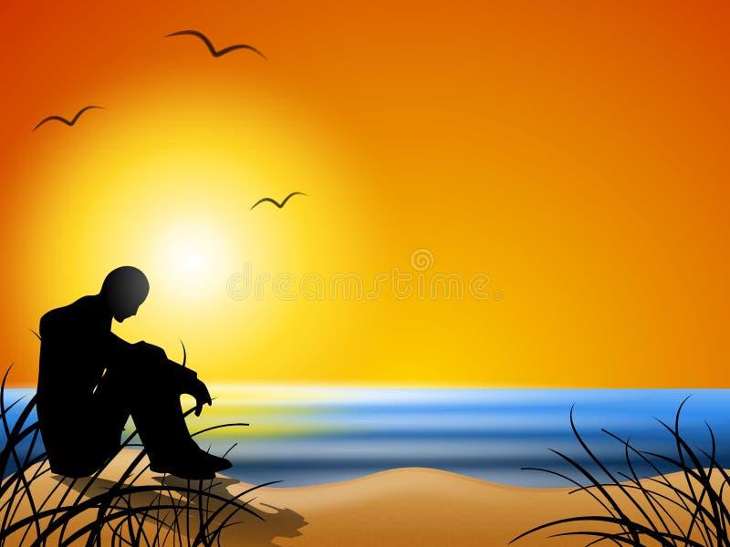 Denken auf dem Strand am Sonnenuntergang lizenzfreie abbildung
