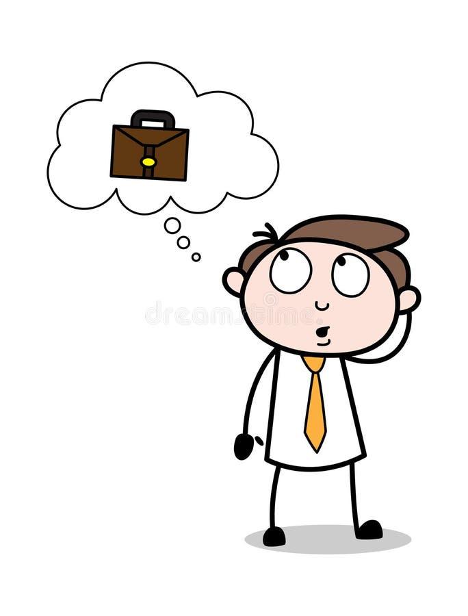 Denken an den Aktenkoffer - Büro-Geschäftsmann-Employee Cartoon Vector-Illustration lizenzfreie abbildung