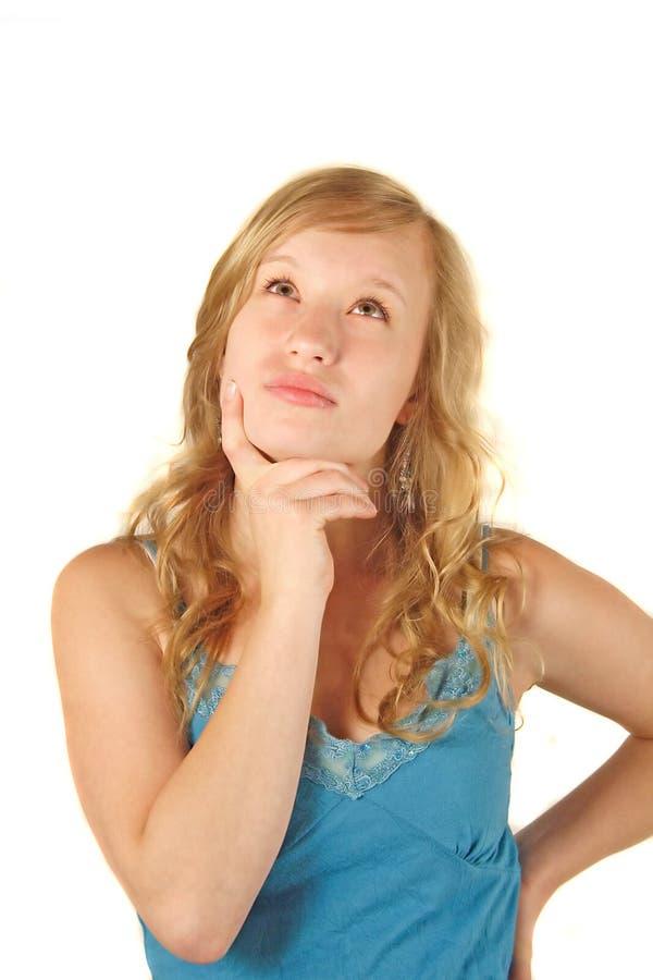 Denken der jungen Frau stockfotografie