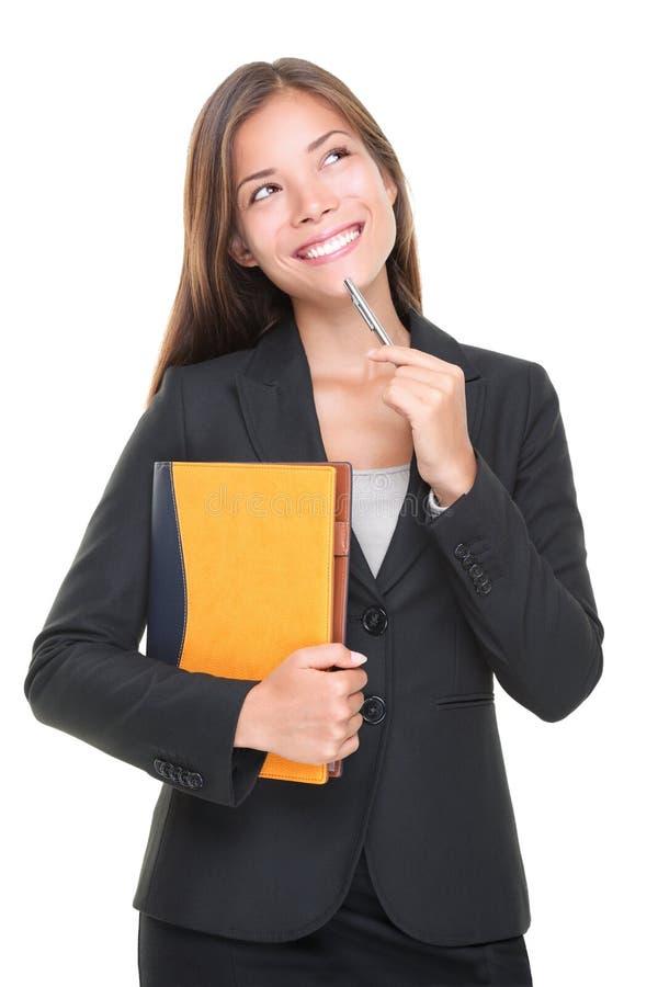 Denken des Immobilienmaklers? Geschäftsentscheidung lizenzfreie stockfotos