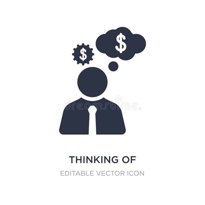 Denken an die Herstellung der Geldikone auf weißem Hintergrund Einfache Elementillustration vom Geschäftskonzept lizenzfreie abbildung