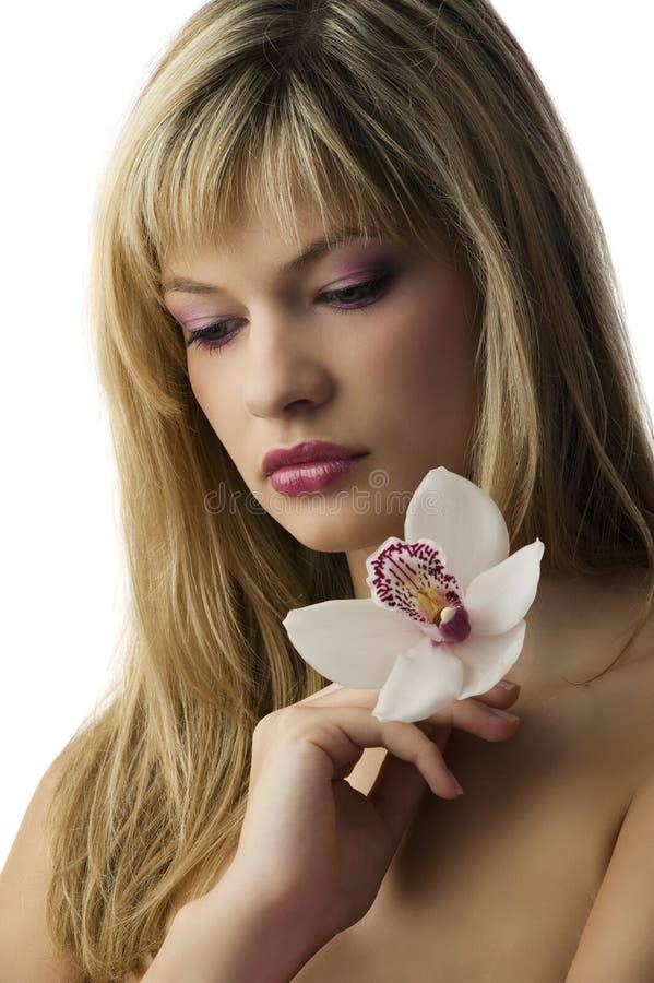 Denken mit Blume lizenzfreies stockfoto