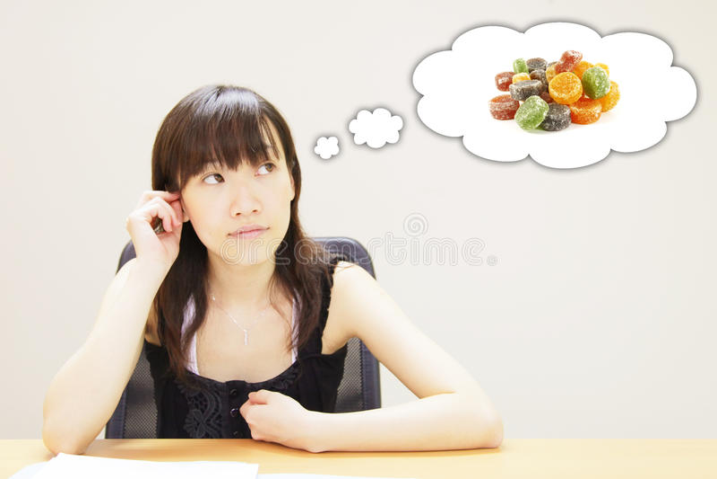 Denken an Süßigkeit lizenzfreie abbildung