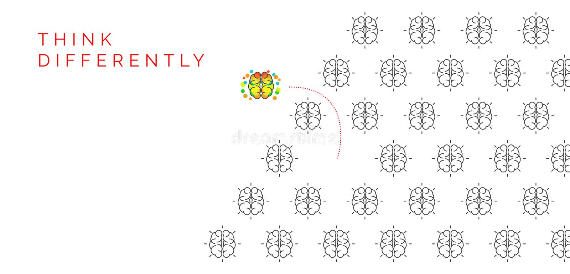 Denken Sie anders als Konzept Ändernde Richtung des kreativen Gehirns lizenzfreie abbildung
