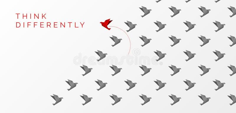 Denken Sie anders als Konzept ?ndernde Richtung des Origamivogels lizenzfreie abbildung