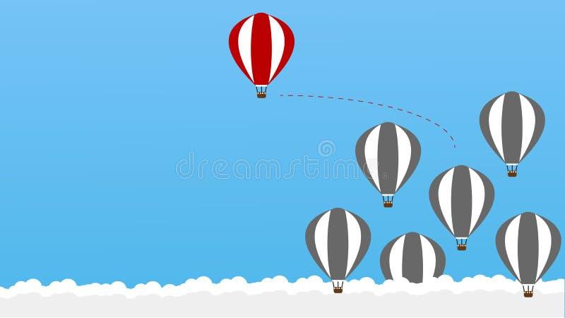 Denken Sie anders als - seiend unterschiedlich, bewegen sich das Nehmen riskant, für Erfolg im Leben - die Grafik an Heißluft bal stock abbildung