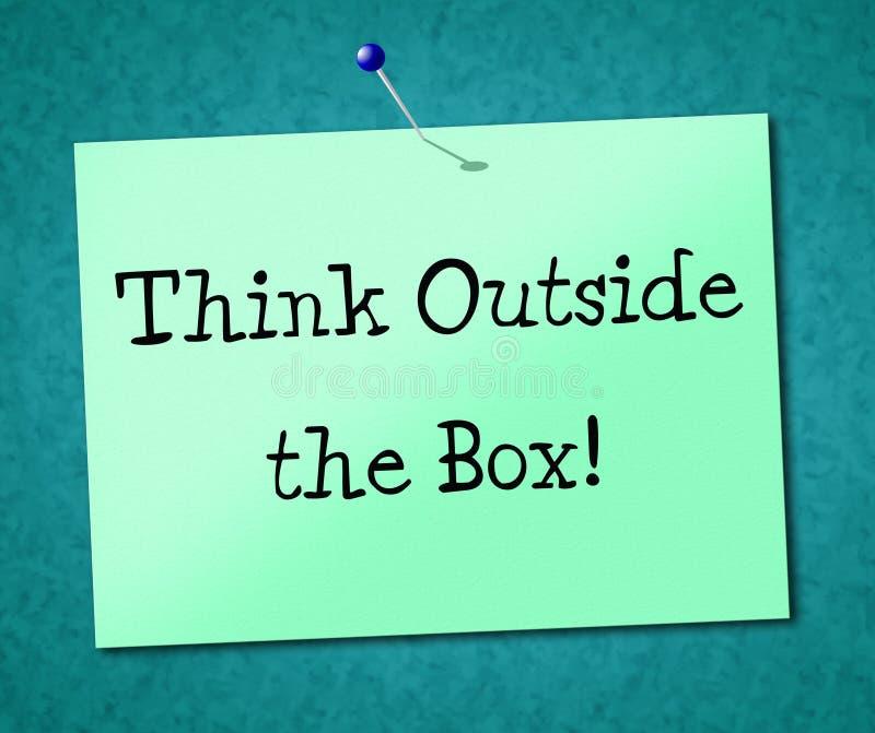 Denken Sie außerhalb der Kasten-Show-Originalitäts-Meinung und der Ideen lizenzfreie abbildung