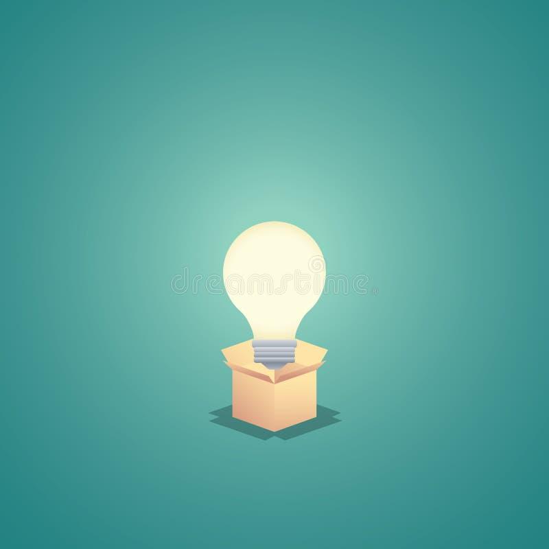 Denken Sie außerhalb des Kastengeschäftskonzept-Vektorhintergrundes mit Glühlampe Kreativität und kreative Lösungszusammenfassung lizenzfreie abbildung