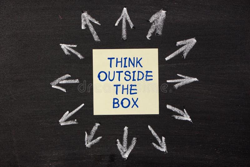 Denken Sie außerhalb des Kastens stockfoto