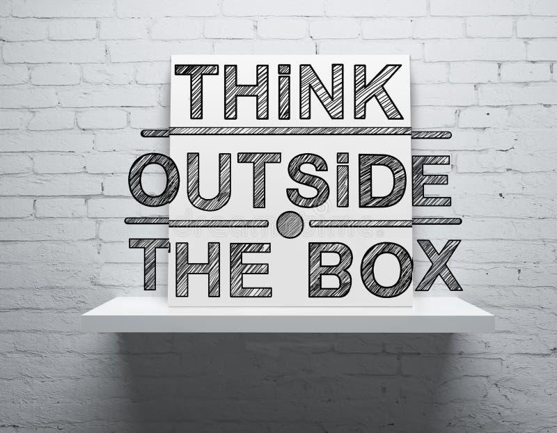 Denken Sie außerhalb des Kastens auf Regal lizenzfreie abbildung