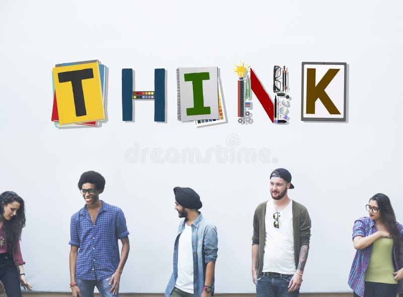 Denken Sie, dass denkende Ideen-Fähigkeit oben Konzept beginnen lizenzfreie stockfotos