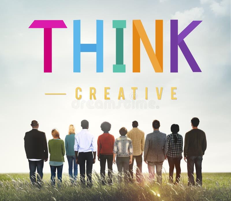 Denken Sie durchdachtes visionäres kreatives Bestimmungs-Konzept lizenzfreies stockfoto