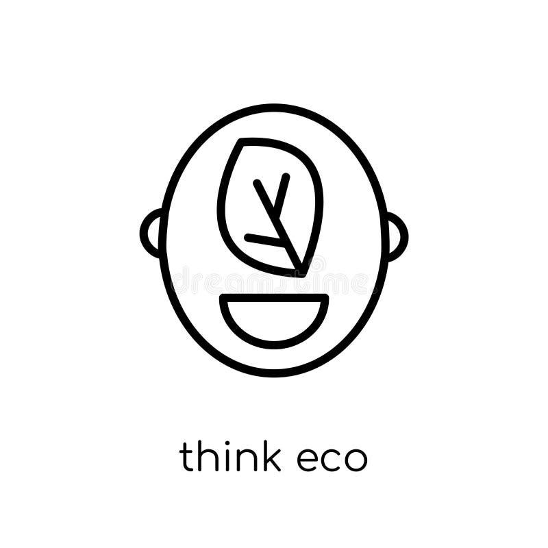 Denken Sie eco Ikone von der Ökologiesammlung lizenzfreie abbildung