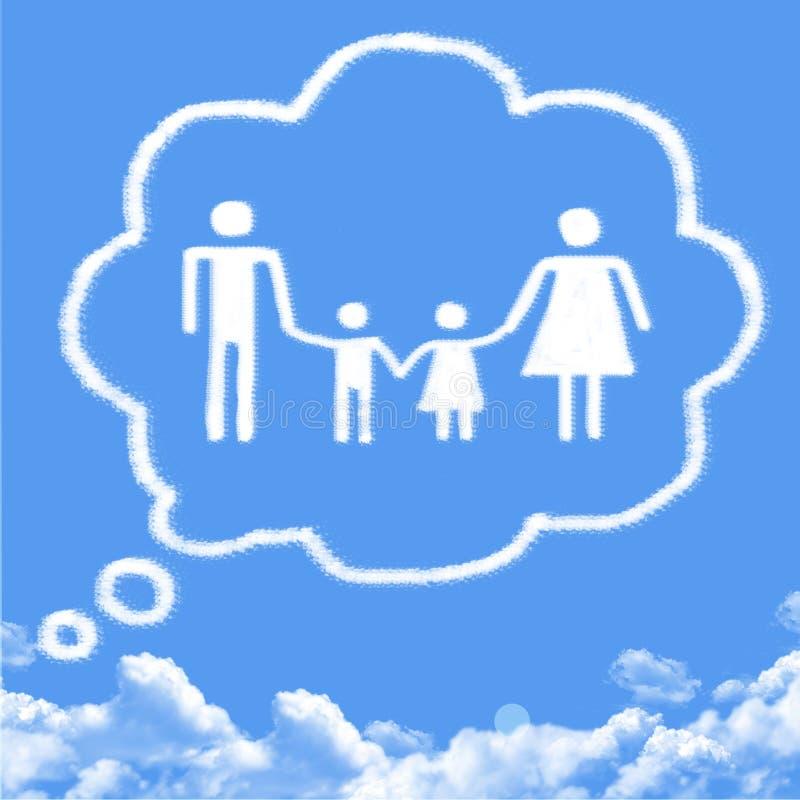 Denken Sie Familienwolkenform stock abbildung