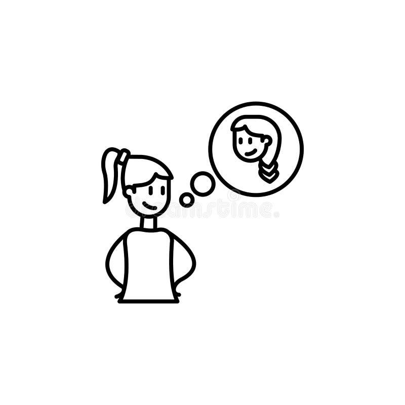 denken Sie an Freundikone Element der Freundschaftsikone für bewegliche Konzept und Netz apps Dünne Linie denken an Freund, den I vektor abbildung