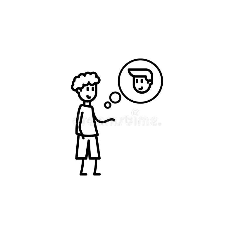 denken Sie an Freundikone Element der Freundschaftsikone für bewegliche Konzept und Netz apps Dünne Linie denken an Freund, den I lizenzfreie abbildung