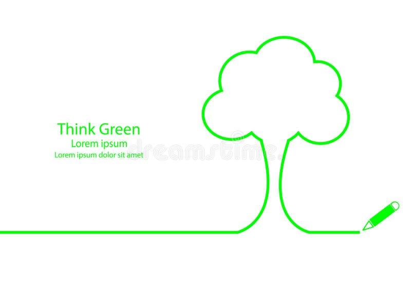 Denken Sie Grün lizenzfreie abbildung