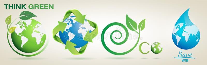 Denken Sie Grün, bereiten Sie, Eco auf, speichern Sie wasser- Vektor Logo Set stock abbildung