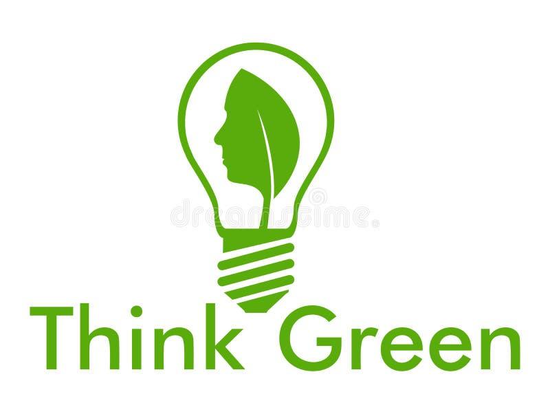Denken Sie Grün mit Birne und Gesicht lizenzfreie abbildung