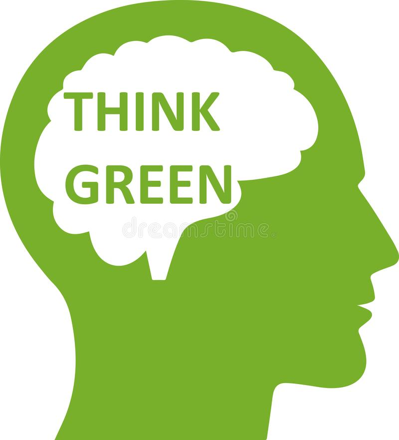 Denken Sie grüne Idee in Gehirnsymbol Ikone lizenzfreie abbildung