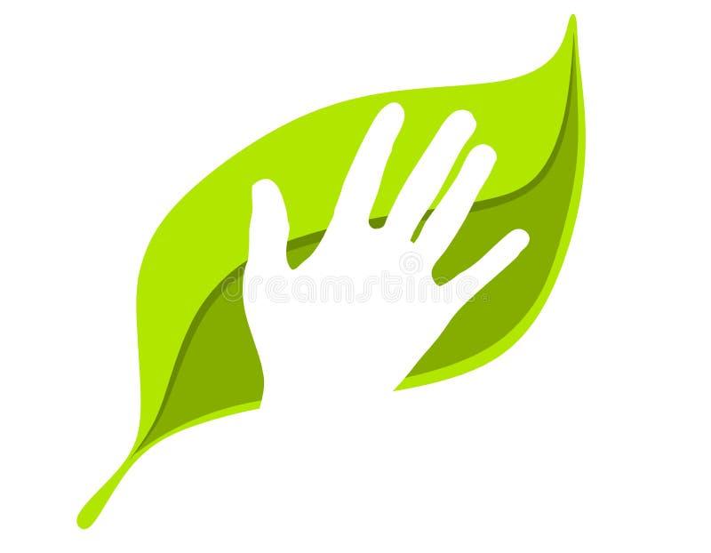 Denken Sie grüne menschliche Hand auf Blatt lizenzfreie abbildung