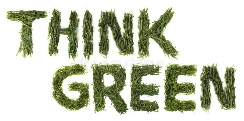 Denken Sie grüne Wörter stockfoto
