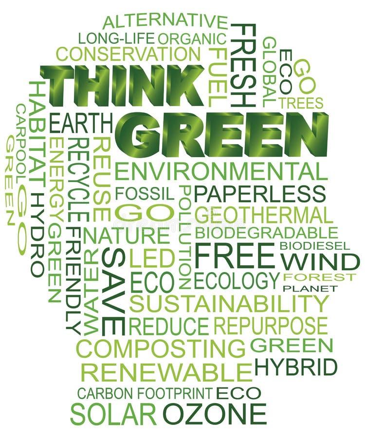 Denken Sie grünen Eco menschlichen Kopf stock abbildung