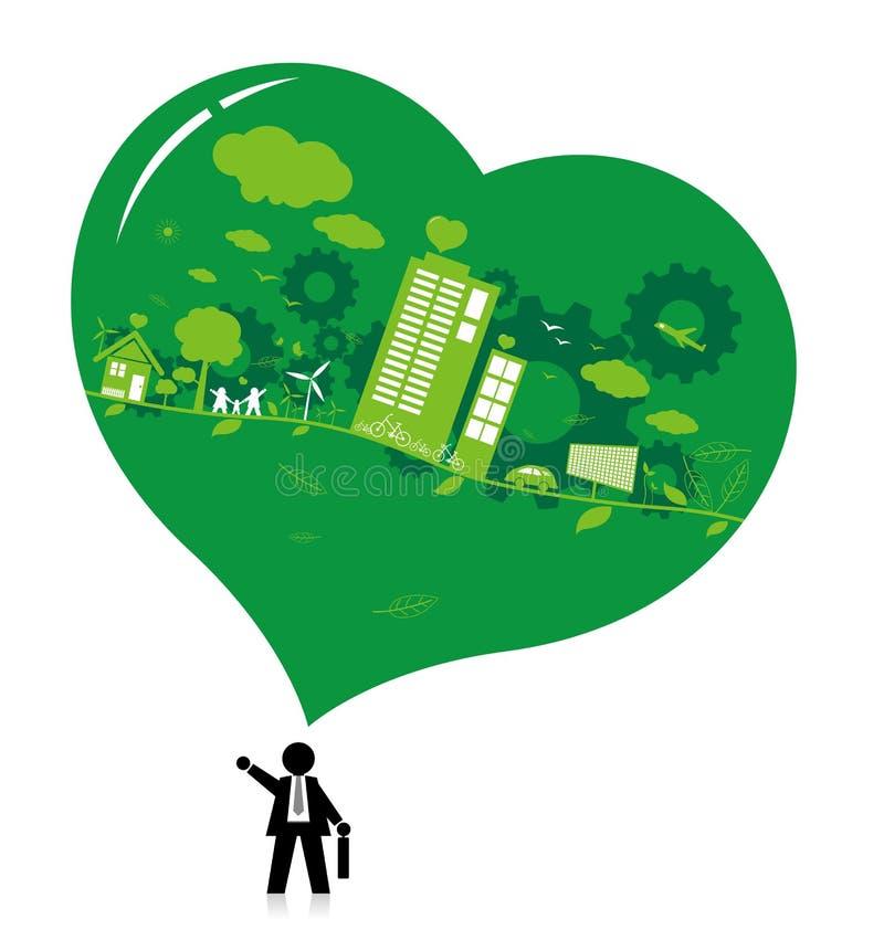 Denken Sie grünes Konzeptdesign stock abbildung