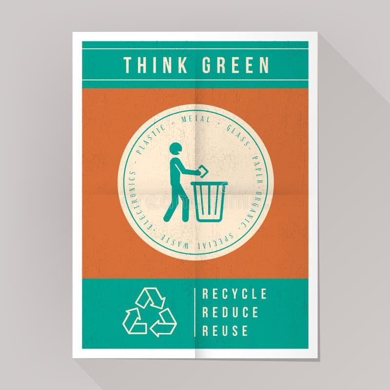 Denken Sie grünes Plakat stock abbildung