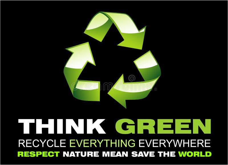 Denken Sie Grünes und bereiten Sie Flayer auf stock abbildung