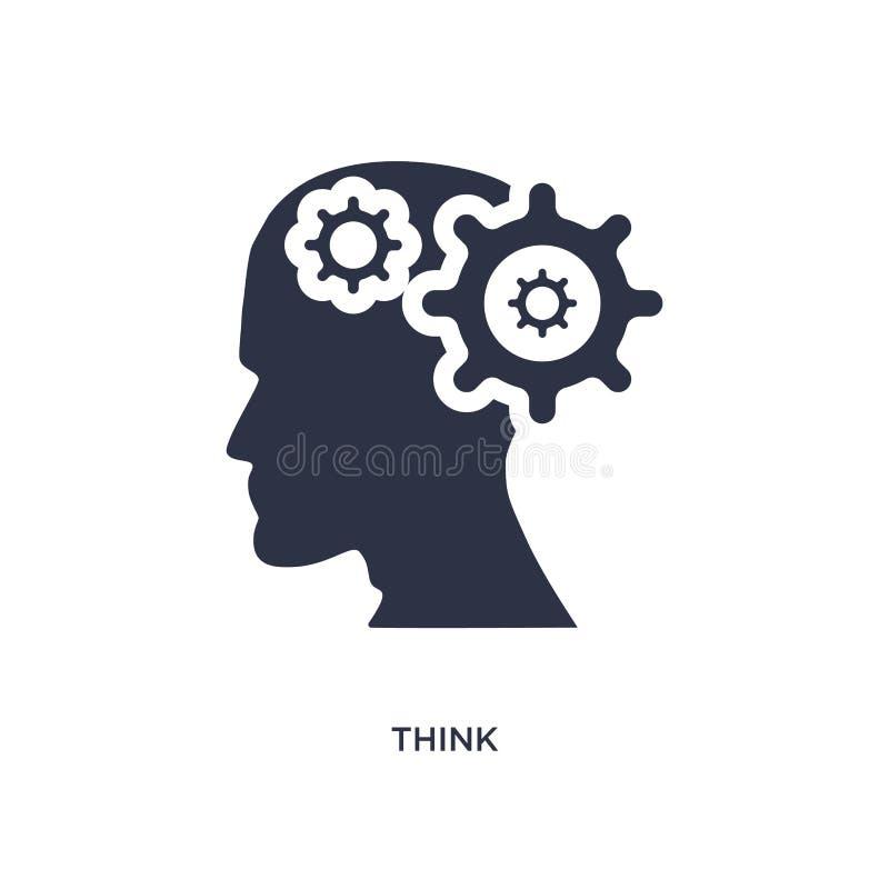 denken Sie Ikone auf weißem Hintergrund Einfache Elementillustration vom Gehirnprozesskonzept stock abbildung