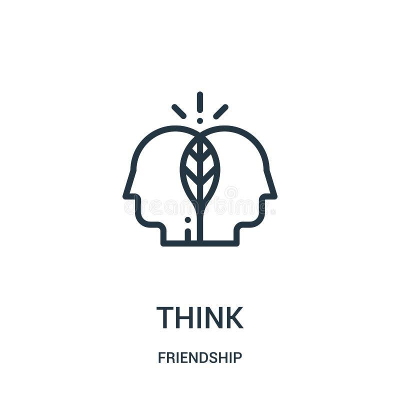 denken Sie Ikonenvektor von der Freundschaftssammlung Dünne Linie denken Entwurfsikonen-Vektorillustration Lineares Symbol für Ge stock abbildung