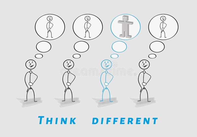 Denken Sie unterschiedliches, 2D gegen 3D stock abbildung