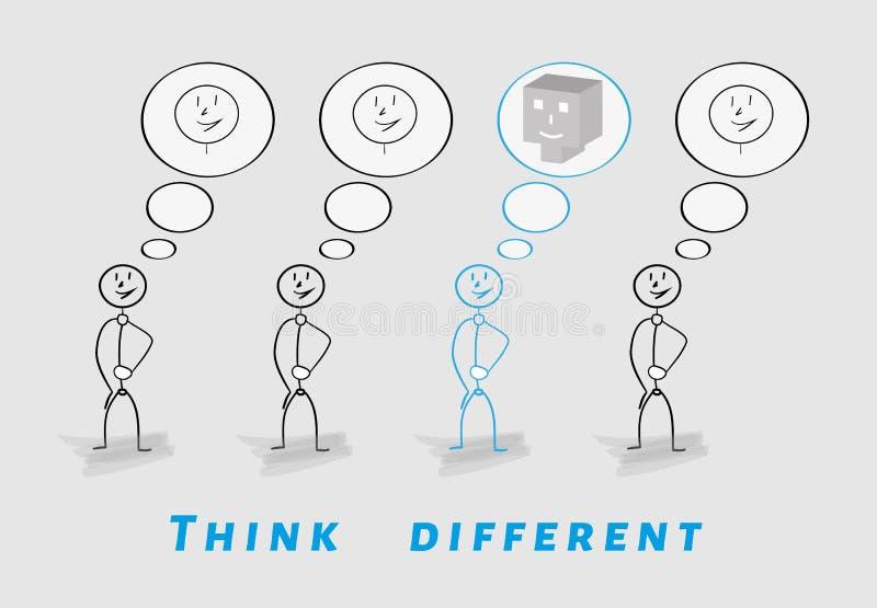 Denken Sie unterschiedliches, 2D gegen 3D lizenzfreie abbildung