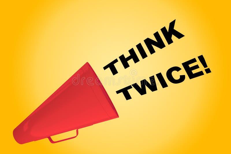 Denken Sie zweimal! Konzept lizenzfreie abbildung
