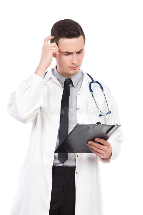 Denkend artsen krassend hoofd royalty-vrije stock afbeeldingen