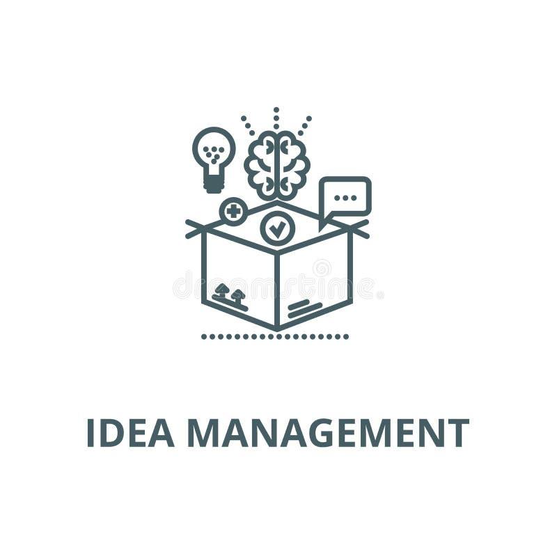 Denkend buiten doos, vector de lijnpictogram van het ideebeheer, lineair concept, overzichtsteken, symbool stock illustratie