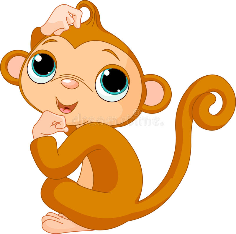 Denkende aap vector illustratie