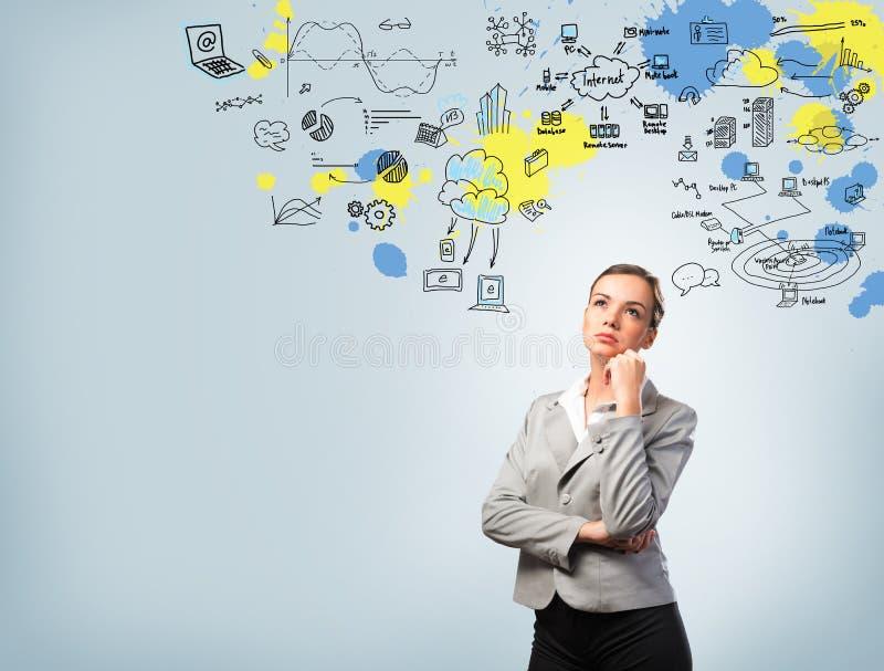 Denkende bedrijfsvrouw stock afbeeldingen