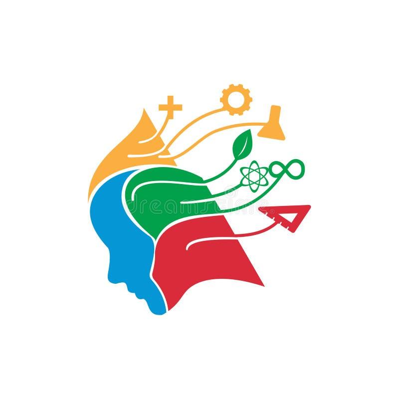 Denkende Brain Stem Science Education Logo-Illustration lizenzfreie abbildung